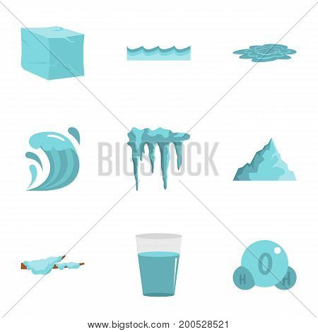 Water form icon set. Flat set of 9 water form vector icons for web isolated on white background
