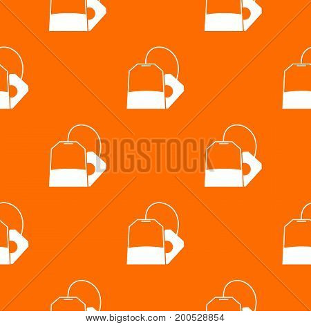 Teabag pattern repeat seamless in orange color for any design. Vector geometric illustration