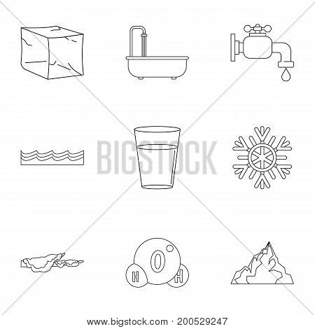 Water form icon set. Outline set of 9 water form vector icons for web isolated on white background