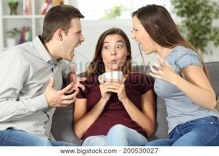 Upset friend in the middle of a couple argument at home