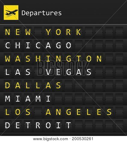 Airplane departures destination table board to major cities in the USA