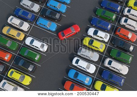Car Is Parking In Full Parking Lot. 3D Rendered Illustration. Vi