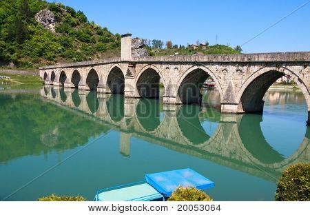Old,Famous bridge on the Drina in Visegrad
