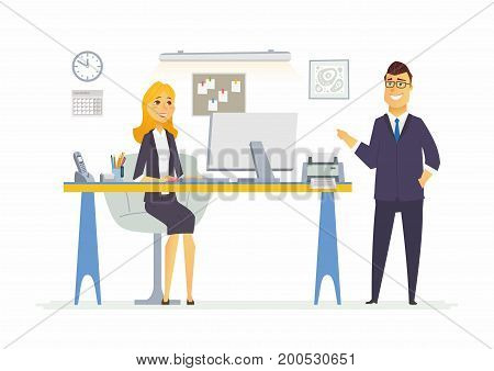 Office Life - vector illustration of a business situation scene. Cartoon people characters of young male, female at work station. Manager, supervisor, secretary, reception discussing process