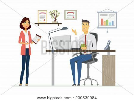 Office Scene - vector illustration of a business situation. Cartoon people characters of young female, male colleagues at work. Manager, supervisor, secretary, subordinate discuss process, giving task