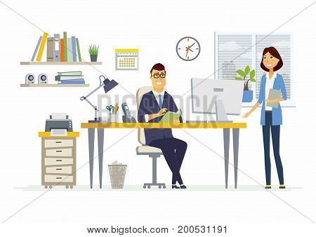 Office Meeting - vector illustration of a business situation. Cartoon people characters of young female, male colleagues, partners discussing work. Manager, supervisor, secretary, subordinate talking