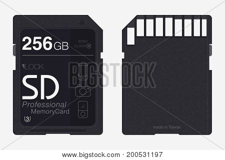 Top View Sd Memory Card. Memory Chip Isolated