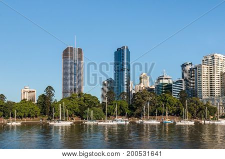 Brisbane waterfront with City botanic gardens and skyscrapers, Queensland, Australia