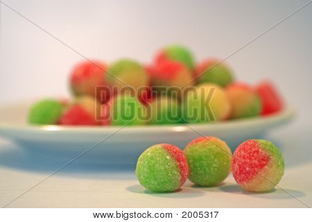 Plate Of Coloured Boiled Sweets