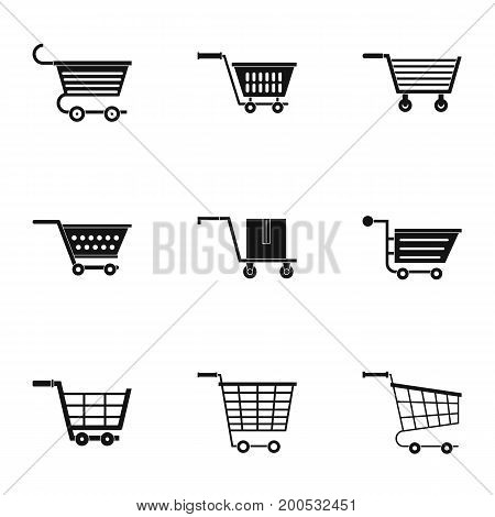 Shopping cart icon set. Simple set of 9 shopping cart vector icons for web isolated on white background