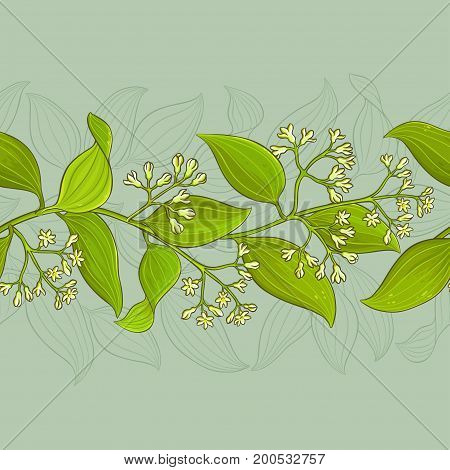 cinnamon branches vector pattern on color background
