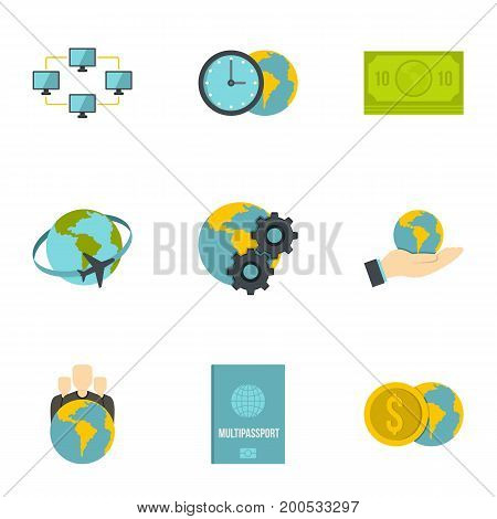 Global network icon set. Flat set of 9 global network vector icons for web isolated on white background
