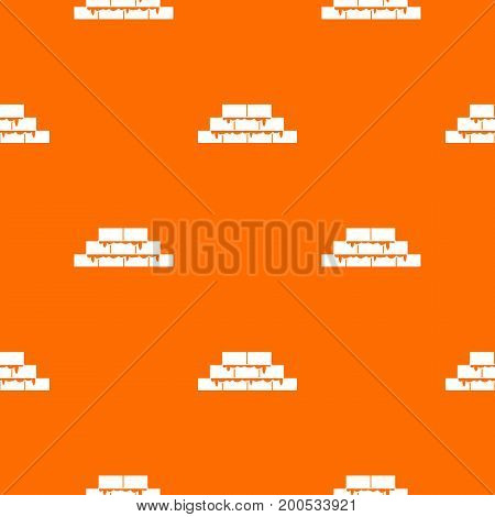 Brickwork pattern repeat seamless in orange color for any design. Vector geometric illustration