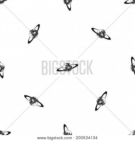 Saturn pattern repeat seamless in black color for any design. Vector geometric illustration
