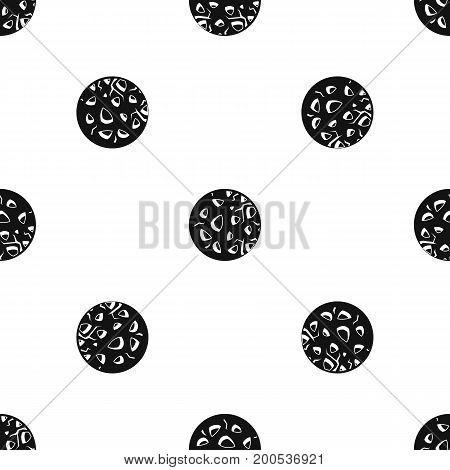 Rocky planet pattern repeat seamless in black color for any design. Vector geometric illustration