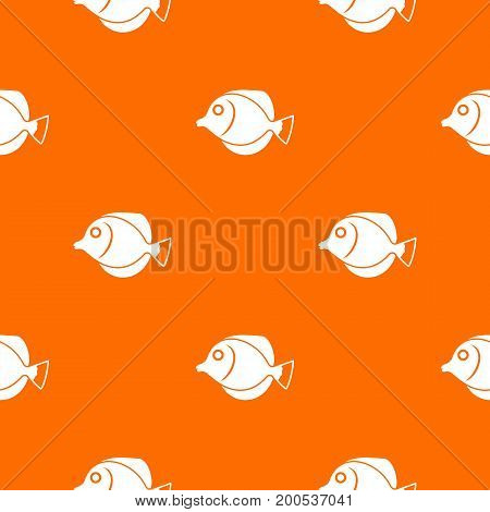 Tang fish, Zebrasoma flavescens pattern repeat seamless in orange color for any design. Vector geometric illustration