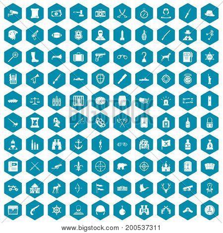 100 guns icons set in sapphirine hexagon isolated vector illustration