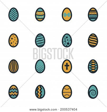 Vector flat easter icons set on white background