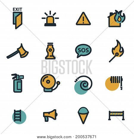 Vector flat firefighter icons set on white background
