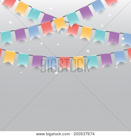 Background of colored garlands festive flags and confetti stock vector