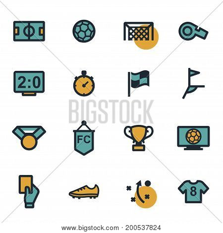 Vector flat football icons set on white background