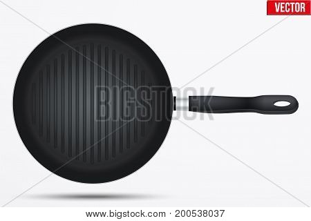 Classic Metal black grill pan with handle. Top view and round shape. Kitchen and domestic symbol. Vector Illustration isolated on background.