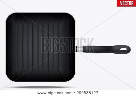 Classic Metal black grill pan with handle. Top view and Square shape. Kitchen and domestic symbol. Vector Illustration isolated on background.