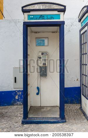 Vintage Blue Phone Call Box In Portugal