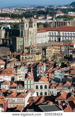 Aerial view of the Historical Centre of Porto: view from Clerigos Tower Portugal