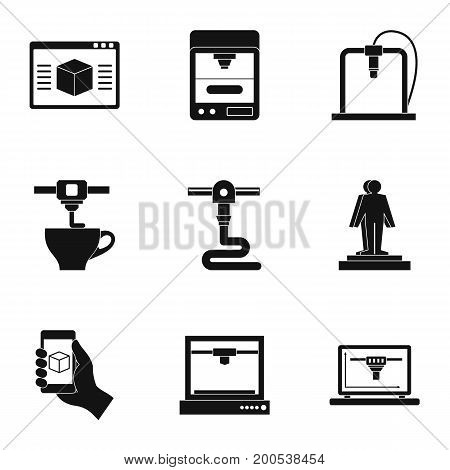 Futuristic 3d printer icon set. Simple set of 9 futuristic 3d printer vector icons for web isolated on white background