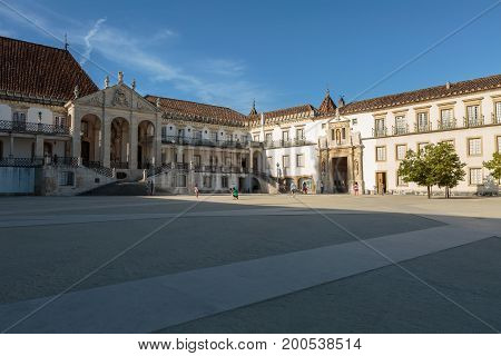 Ancient University Square in Coimbra Portugal, architecture theme