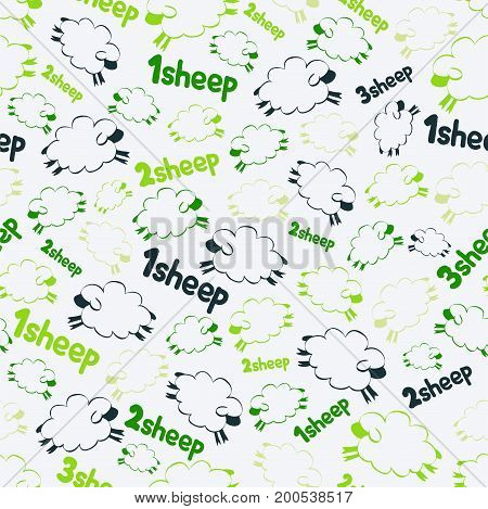 Seamless pattern - soaring sheeps on the green background. Counting sheeps and lambs. Vector illustration for pajamas