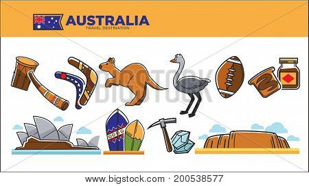 Australia travel destination vector illustration. Musical instruments, wooden boomerang, cute kangaroo, grey ostrich, American football, Sydney opera, bright surfboards and natural landscape.