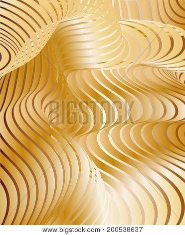 Parallel bands of metal with a gradient fill. Bizarre curved shape. Acrylic patterns. Background for presentations or wallpaper on the screen