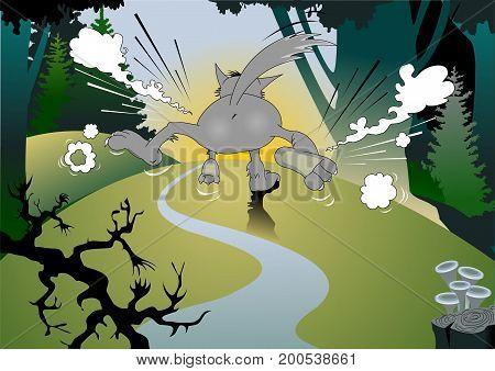 Wild danger grey wolf in cartoon style. Animal in the woods