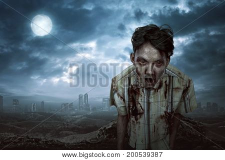 Creepy Asian Zombie Man With Angry Face