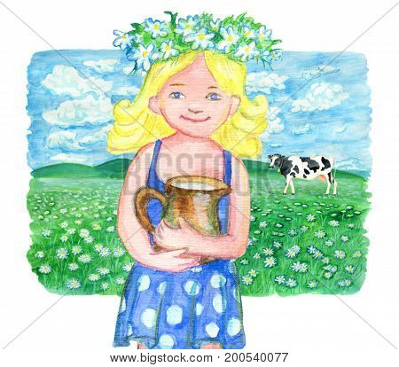 Beautiful little girl with pitcher of milk against the background of grassland with cow. Vintage rural background with summer landscape, watercolor illustration with design graphic elements