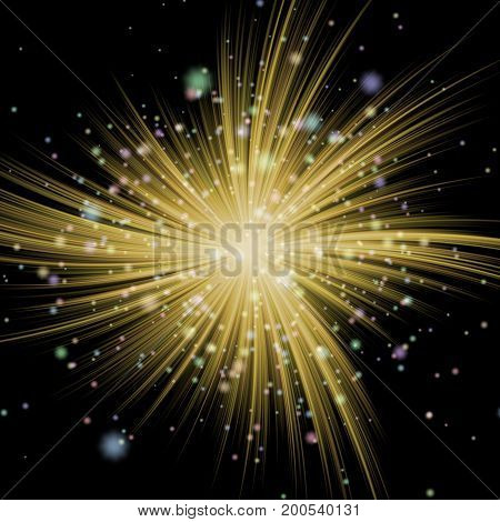 Elegant Stars Twirl Ball In Background Design Illustration. Bright Abstract Background With Snowflak