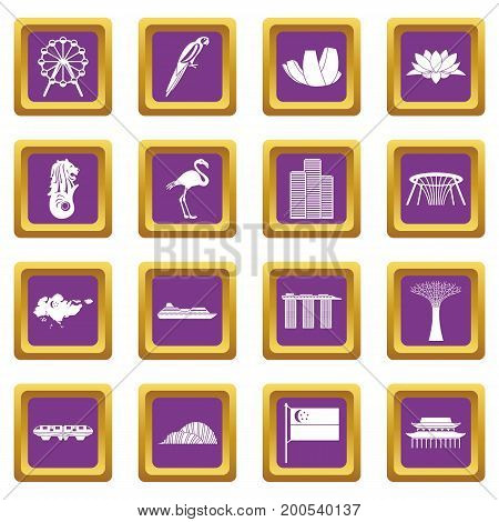 Singapore icons set in purple color isolated vector illustration for web and any design