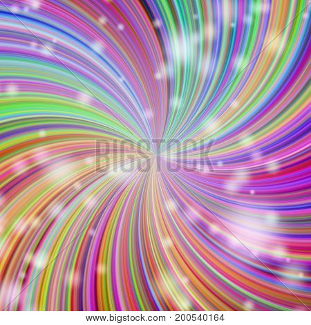 Elegant Stars Twirl Ball In Rainbow Colors. Illustration. Bright Abstract Background