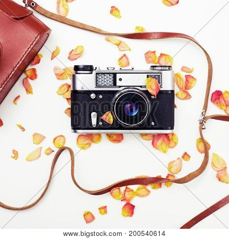 Old Retro Camera On White Background. Abstract Background