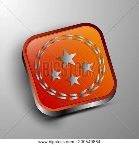The vector 3d button.Stars and branches decoration