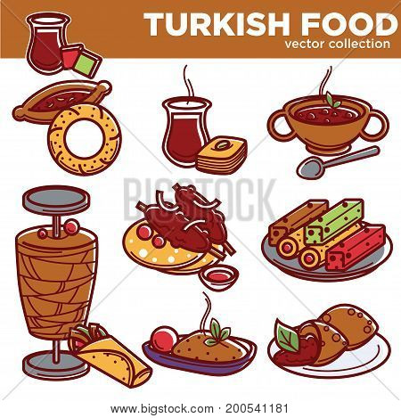 Turkish food dishes of traditional cuisine restaurant menu. Turkey main meat, soup or garnish and dessert of lula kebab and kefte, pide or smith bagel snack, lukum and baklava pastry. Vector icons set