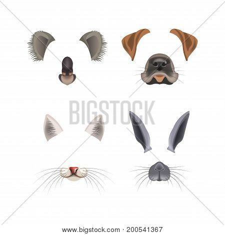 Animal face video chat animated effect filter templates for for smartphone camera application . Koala, dog or cat and rabbit animals head and ears cartoon selfie photo mask vector flat isolated icons