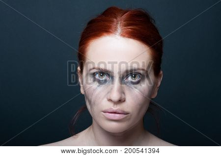 Sad Beautiful Woman With Smudged Make-up