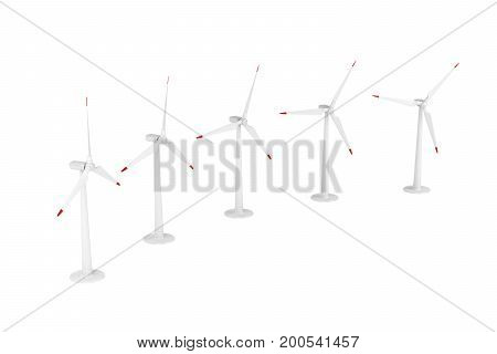 Group of wind turbines generating electricity on white background, 3D illustration