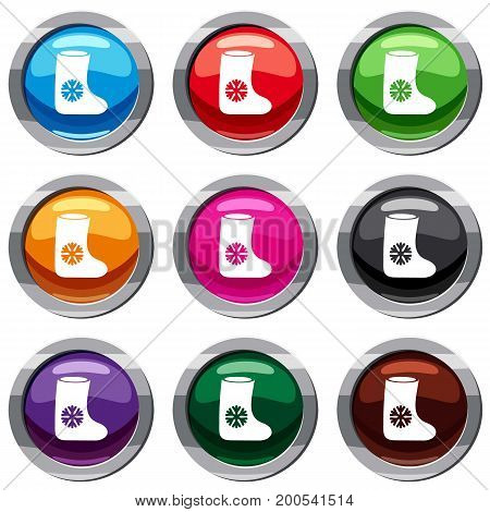 Felt boots set icon isolated on white. 9 icon collection vector illustration