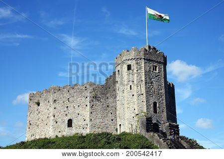 Cardiff, Wales, UK , August 31, 2016 :  Cardiff Castle in Castle Street is a 12th century ruin which is one of the cities most popular visitor attractions