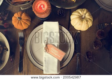 Pumpkin Plate Candle Thanksgiving Table Setting Concept