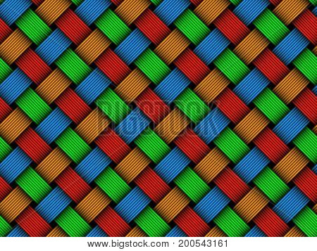 Vector Colored Woven Fiber Seamless Pattern